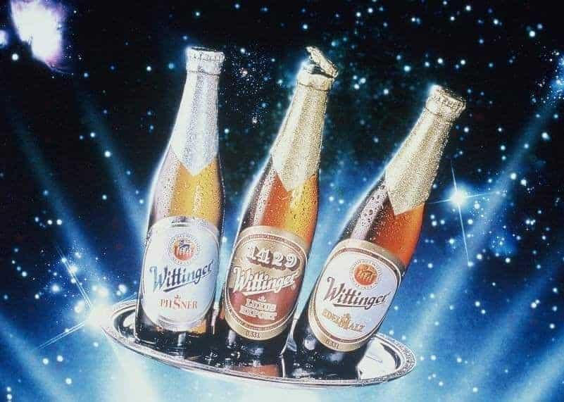 Werbefoto aus den 1970er Jahren mit Wittinger Pilsner, Wittinger 1429 und Wittinger Edelmalz